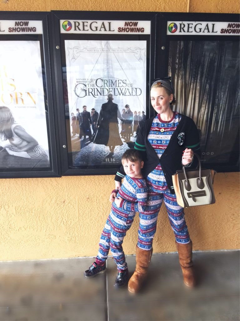 Christmas Harry Potter pajamas at Grindelwald movie